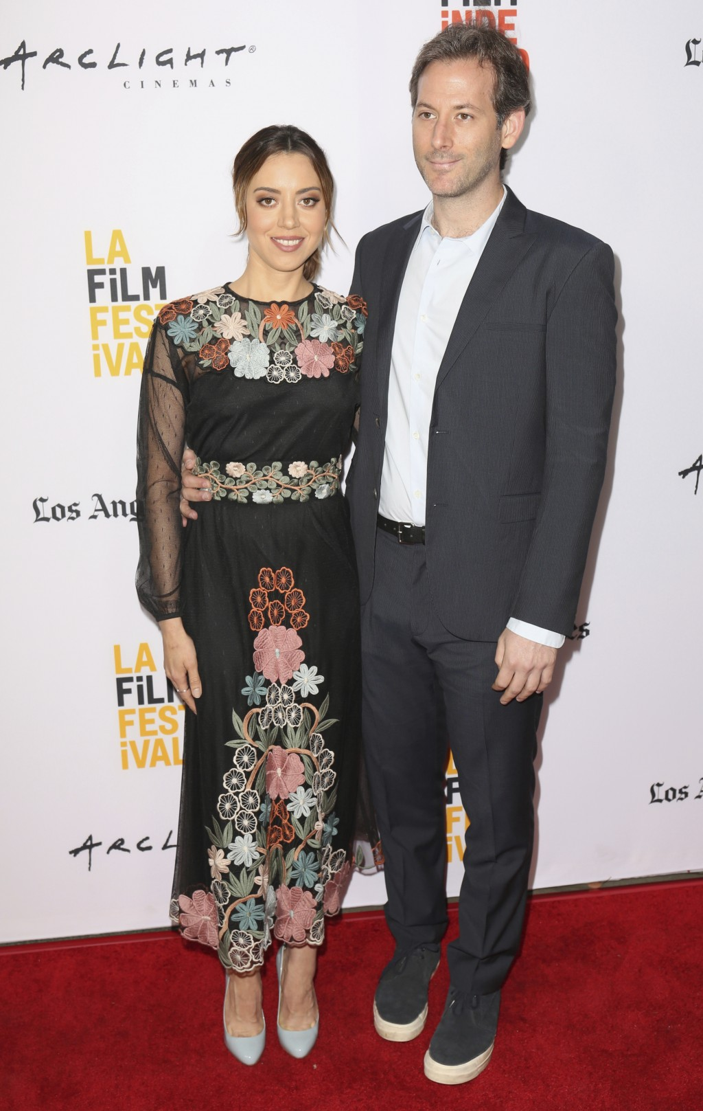 """FILE - In this Monday, June 19, 2017, file photo, Aubrey Plaza, left, and Jeff Baena arrive at the premiere of """"The Little Hours"""" at the 2017 Los Ange..."""