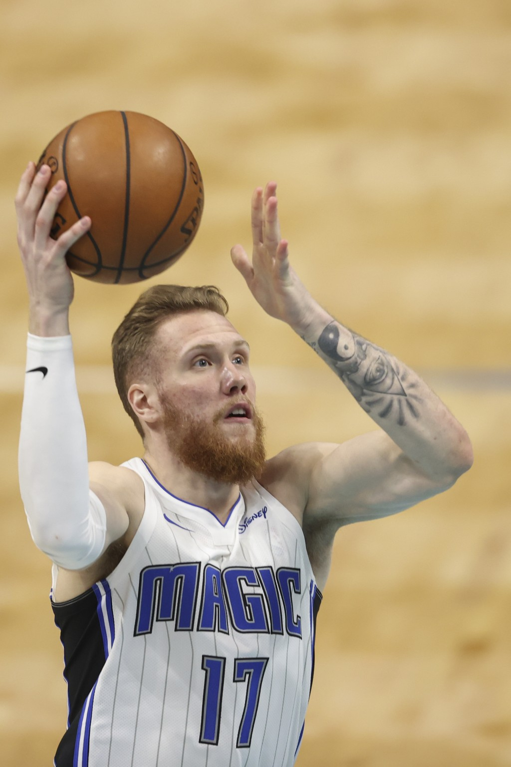 Orlando Magic forward Ignas Brazdeikis shoots against the Charlotte Hornets during the second half of an NBA basketball game in Charlotte, N.C., Frida...
