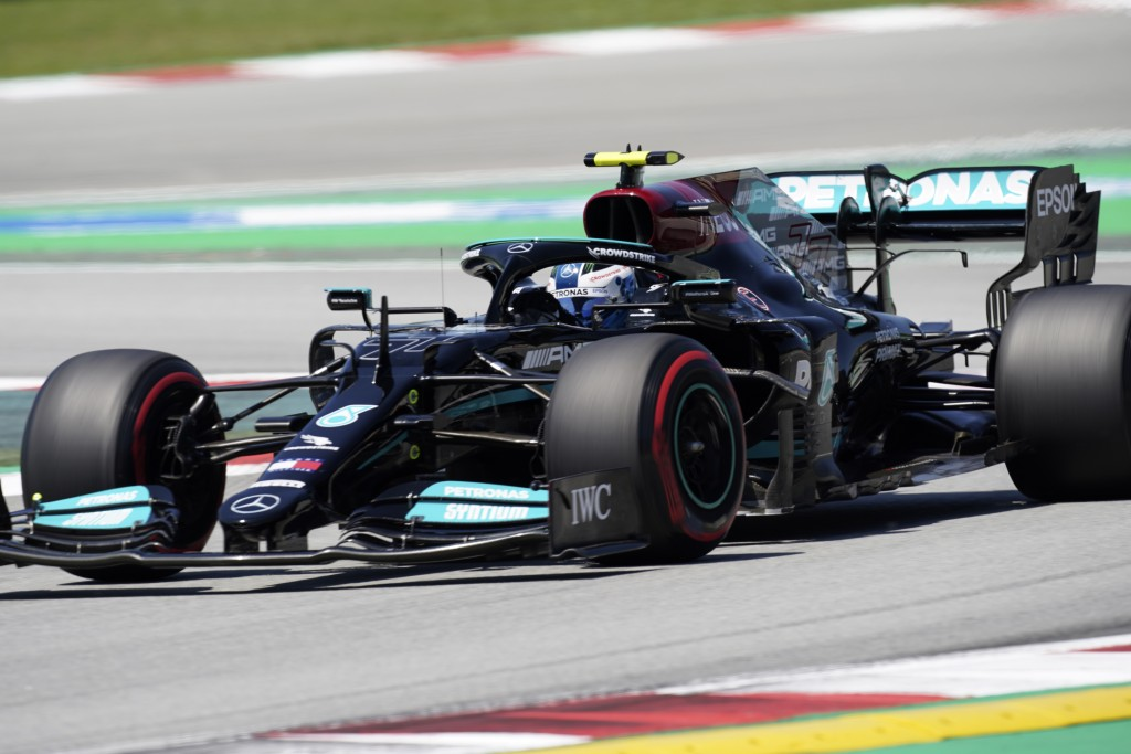 Mercedes driver Valtteri Bottas of Finland steers his car during the third free practice for the Spanish Formula One Grand Prix at the Barcelona Catal...