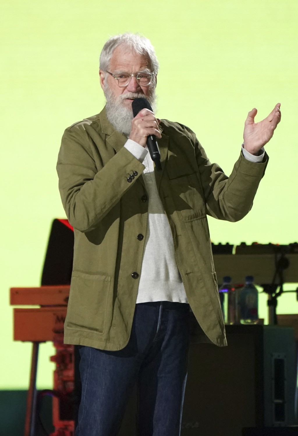 """David Letterman speaks at """"Vax Live: The Concert to Reunite the World"""" on Sunday, May 2, 2021, at SoFi Stadium in Inglewood, Calif. (Photo by Jordan S..."""