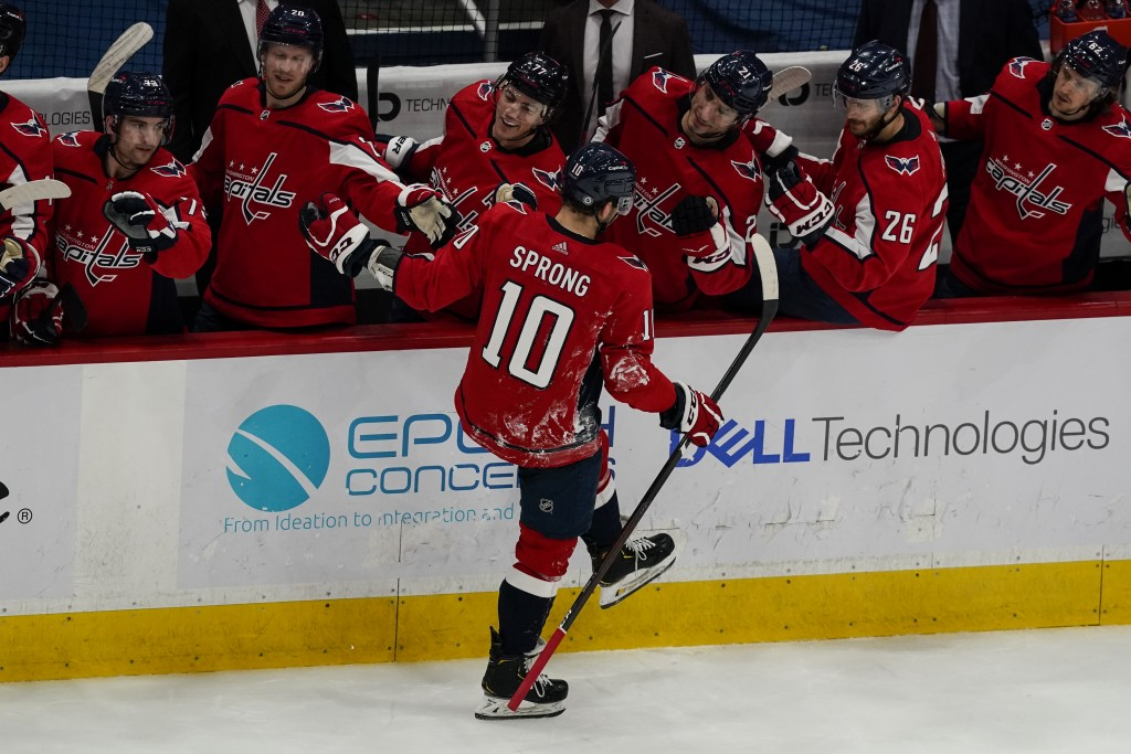 Washington Capitals right wing Daniel Sprong (10) celebrates his goal during the first period of an NHL hockey game against the Philadelphia Flyers, F...