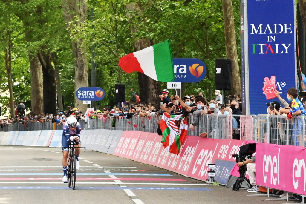 Vincenzo Nibali competes during the opening stage of the Giro d'Italia cycling race, an individual time trial in Turin, Italy, Saturday, May 9, 2021. ...