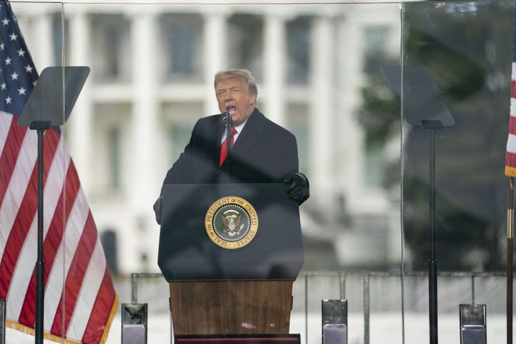 FILE - In this Jan. 6, 2021, file photo, President Donald Trump speaks during a rally protesting the electoral college certification of Joe Biden as P...