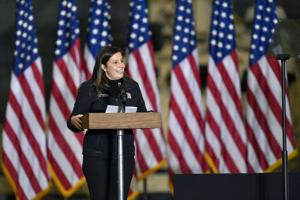 FILE - In this Jan. 17, 2021, file photo  Rep. Elise Stefanik, R-N.Y., introduces Vice President Mike Pence and second lady Karen Pence to speak to Ar...