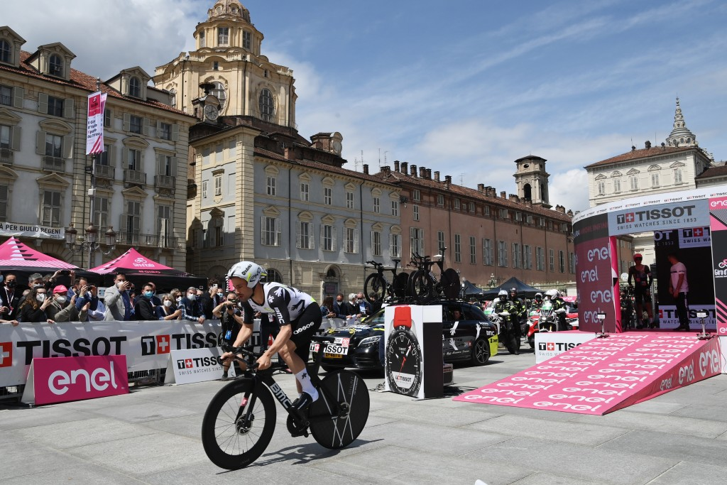 Belgium's Victor Campenaerts pedals during the opening stage of the Giro d'Italia, tour of Italy cycling race, an individual time trial in Turin, Ital...