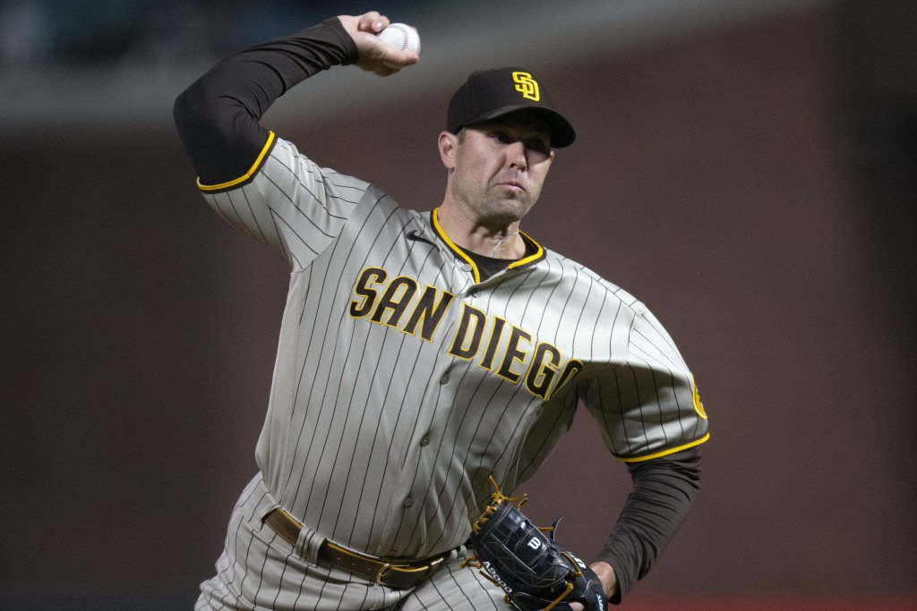 San Diego Padres pitcher Craig Stammen delivers to a San Francisco Giants batter during the sixth inning of a baseball game Friday, May 7, 2021, in Sa...