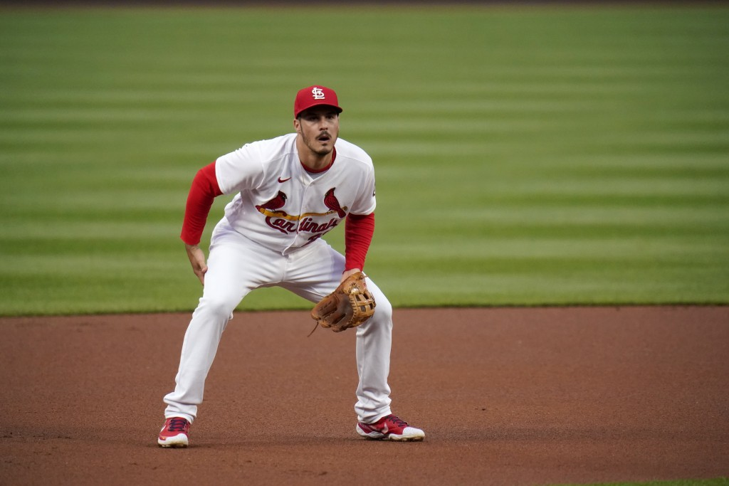 St. Louis Cardinals third baseman Nolan Arenado takes up his position during the first inning of a baseball game against the Colorado Rockies Friday, ...