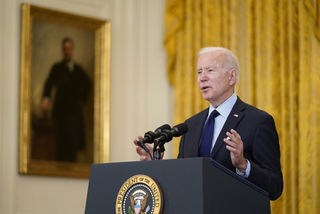 President Joe Biden speaks about the April jobs report in the East Room of the White House, Friday, May 7, 2021, in Washington. (AP Photo/Patrick Sema...