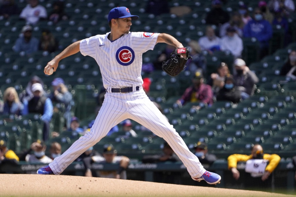Chicago Cubs starting pitcher Zach Davies delivers during the first inning of a baseball game Friday, May 7, 2021, in Chicago. (AP Photo/Charles Rex A...