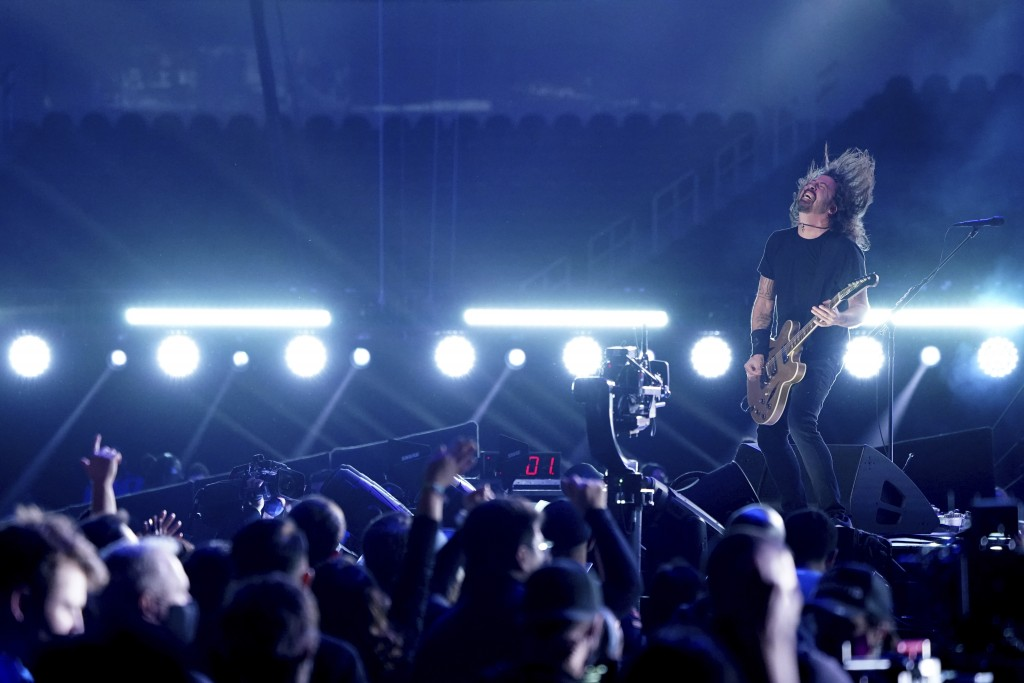 """Dave Grohl of Foo Fighters performs at """"Vax Live: The Concert to Reunite the World"""" on Sunday, May 2, 2021, at SoFi Stadium in Inglewood, Calif. (Phot..."""