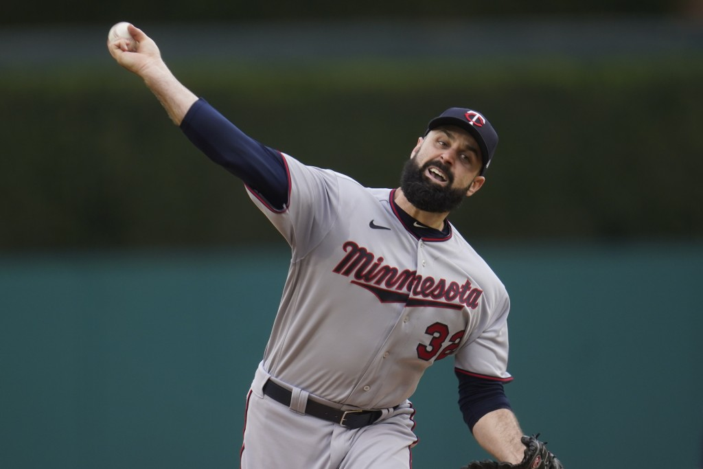 Minnesota Twins pitcher Matt Shoemaker throws against the Detroit Tigers in the first inning of a baseball game in Detroit, Friday, May 7, 2021. (AP P...
