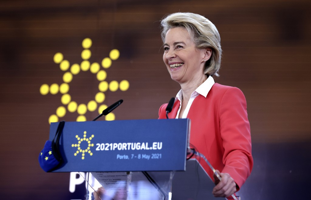 European Commission President Ursula von der Leyen speaks during a media conference at an EU summit in Porto, Portugal, Saturday, May 8, 2021. On Satu...