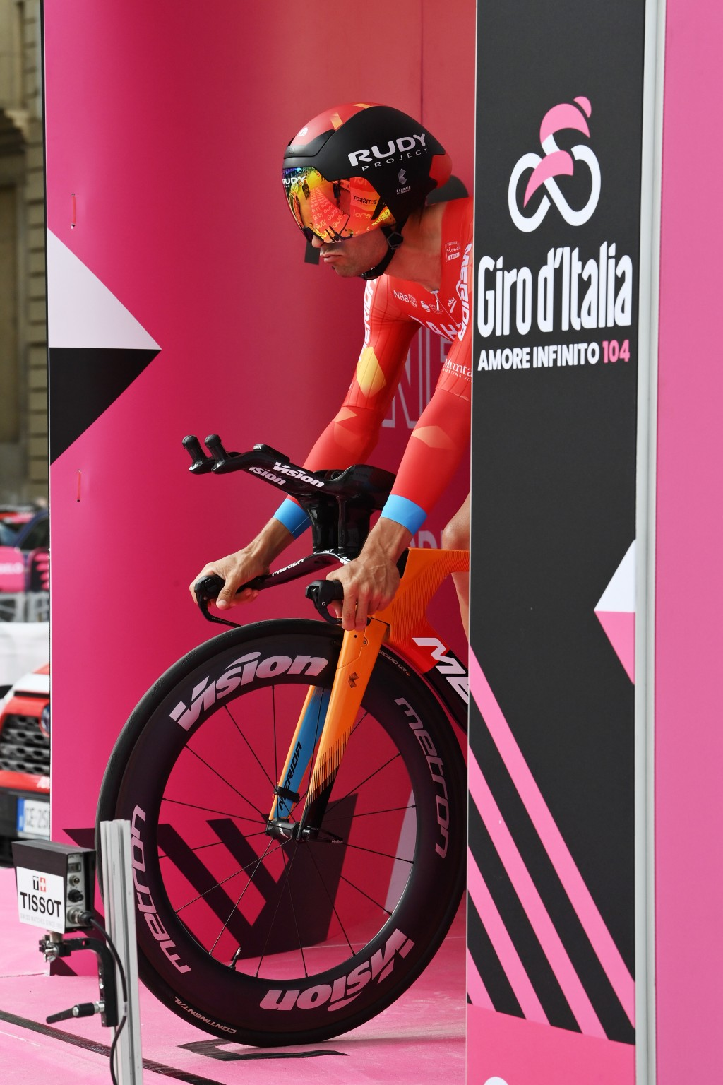 Mikel Landa prepares to start the opening stage of the Giro d'Italia cycling race, an individual time trial in Turin, Italy, Saturday, May 8, 2021. (G...