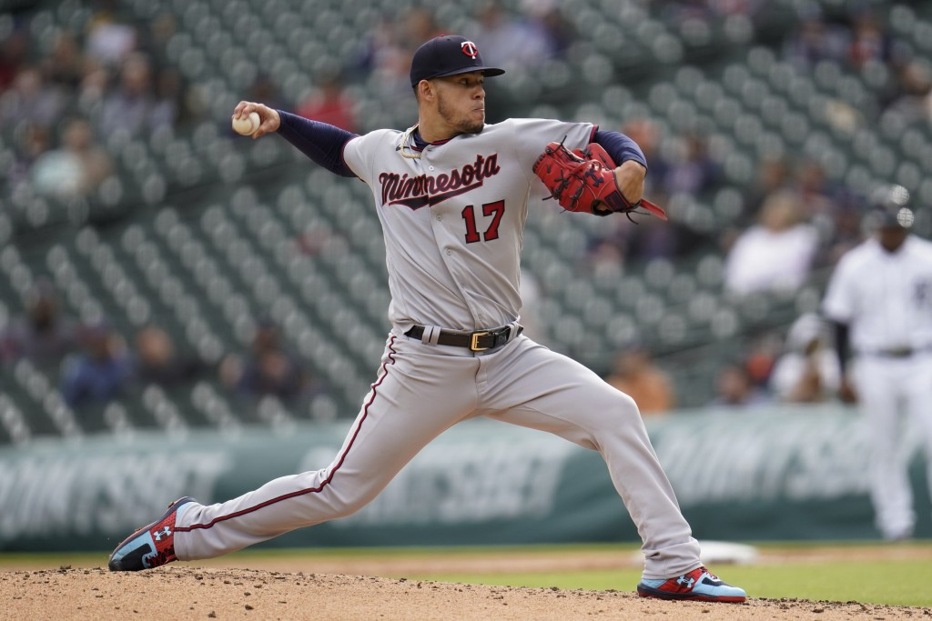 Minnesota Twins pitcher Jose Berrios throws against the Detroit Tigers in the third inning of a baseball game in Detroit, Saturday, May 8, 2021. (AP P...
