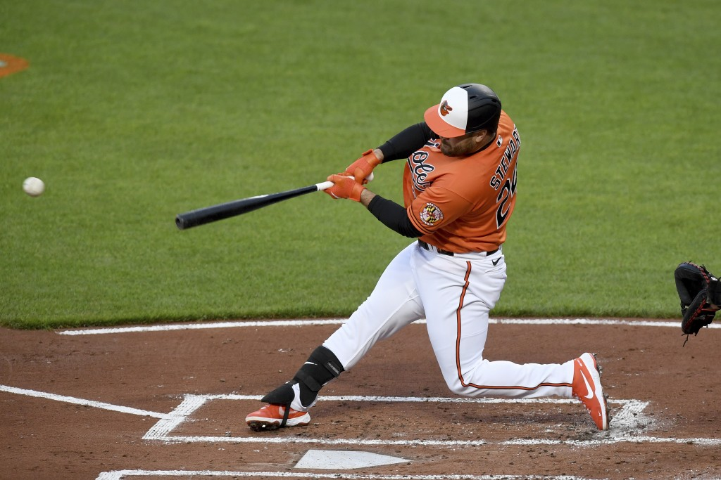 Baltimore Orioles' DJ Stewart hits an RBI-single against the Boston Red Sox in the first inning of a baseball game, Saturday, May 8, 2021, in Baltimor...