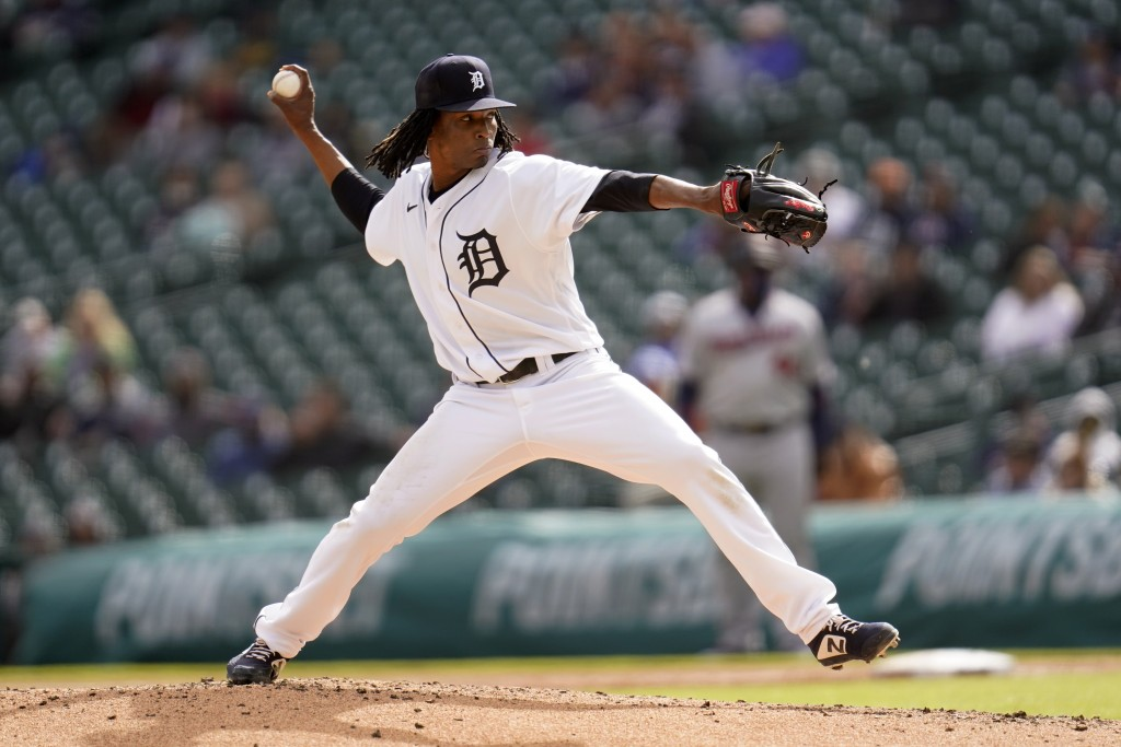 Detroit Tigers pitcher Jose Urena throws against the Minnesota Twins in the third inning of a baseball game in Detroit, Saturday, May 8, 2021. (AP Pho...