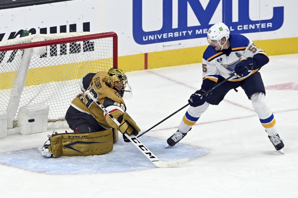St. Louis Blues defenseman Colton Parayko (55) scores against Vegas Golden Knights goaltender Marc-Andre Fleury (29) during the second period of an NH...