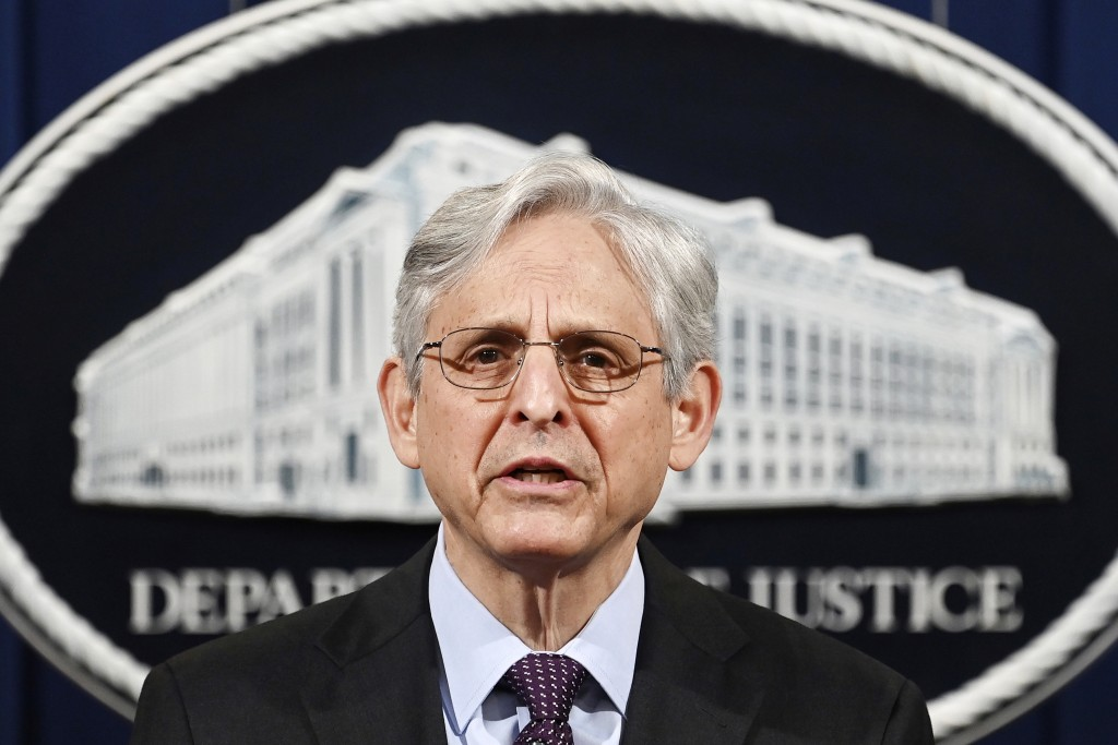 FILE - In this April 26, 2021, file photo Attorney General Merrick Garland speaks at the Department of Justice in Washington, The Justice Department i...