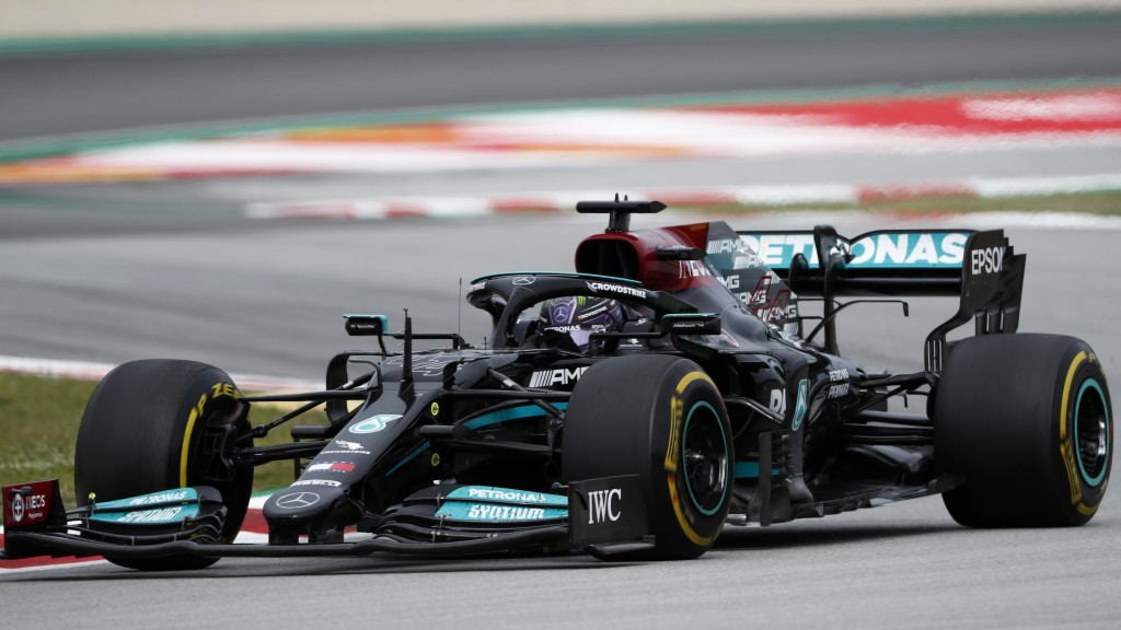 Mercedes driver Lewis Hamilton of Britain steers his car during the Spanish Formula One Grand Prix at the Barcelona Catalunya racetrack in Montmelo, j...