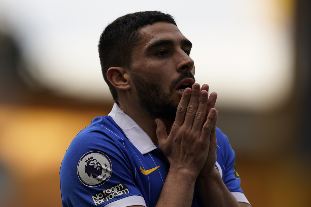 Brighton's Neal Maupay reacts during the English Premier League soccer match between Wolverhampton Wanderers and Brighton & Hove Albion at the Molineu...