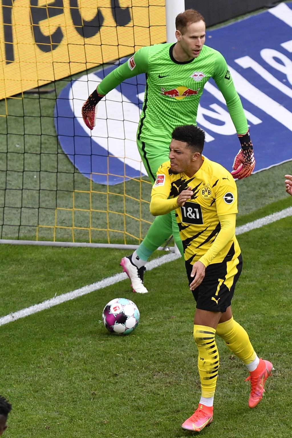Dortmund's Jadon Sancho celebrates after scoring his side's third goal during the German Bundesliga soccer match between Borussia Dortmund and RB Leip...