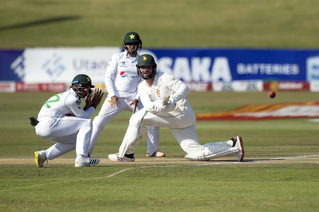 Zimbabwean batsman Brendan Taylor plays a shot during the second test cricket match against Pakistan at Harare Sports Club, Sunday, May, 9, 2021.(AP P...