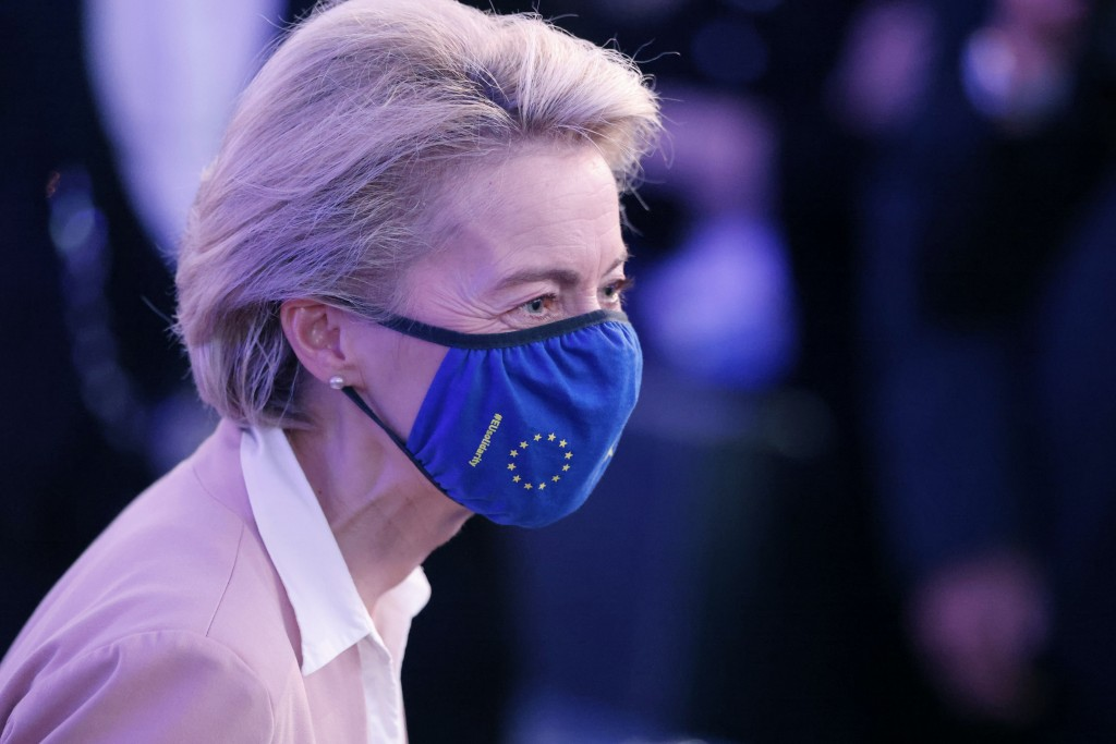 European Commission President Ursula von der Leyen meets Erasmus students during Europe Day ceremony and the Future of Europe conference at the Europe...