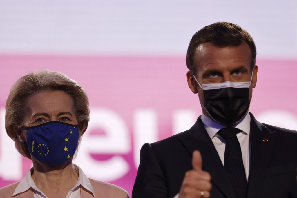 European Commission President Ursula von der Leyen and French President Emmanuel Macron attend Europe Day ceremony and the Future of Europe conference...
