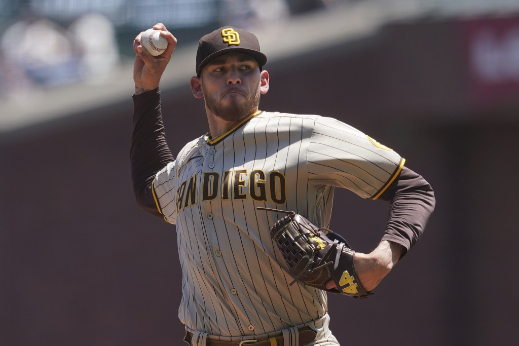 San Diego Padres' Joe Musgrove pitches against the San Francisco Giants during the first inning of a baseball game in San Francisco, Saturday, May 8, ...