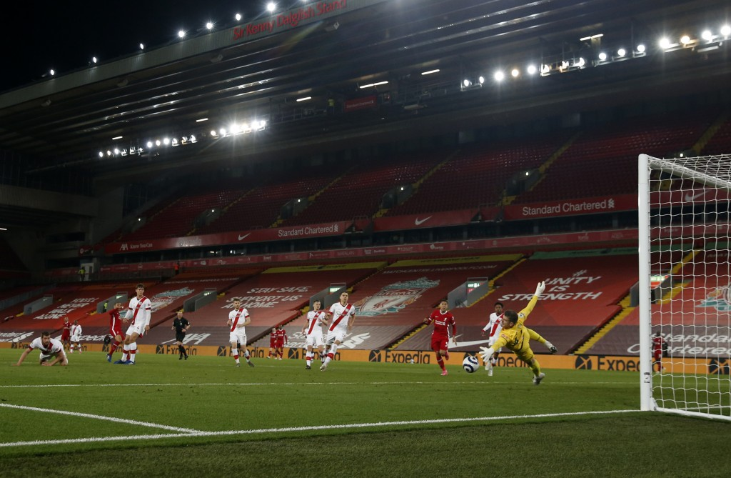 Liverpool's Thiago scores his side's second goal during the English Premier League soccer match between Liverpool and Southampton at Anfield stadium i...