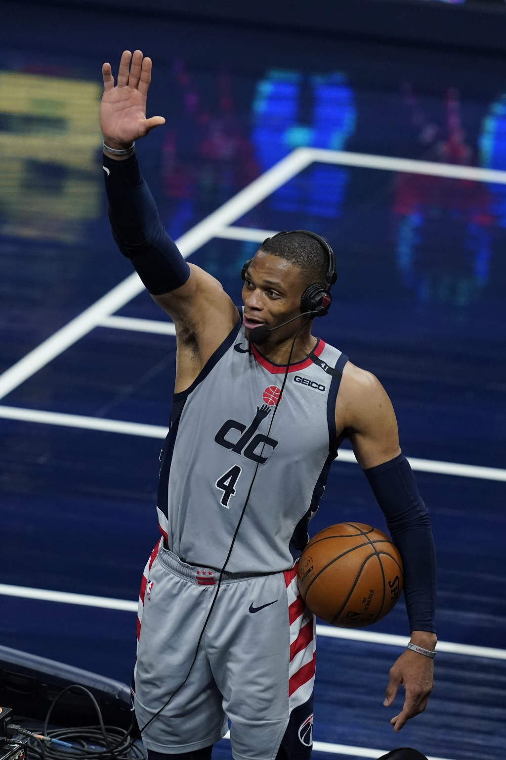 Washington Wizards' Russell Westbrook reacts as he is interviewed following an NBA basketball game against the Indiana Pacers, Saturday, May 8, 2021, ...