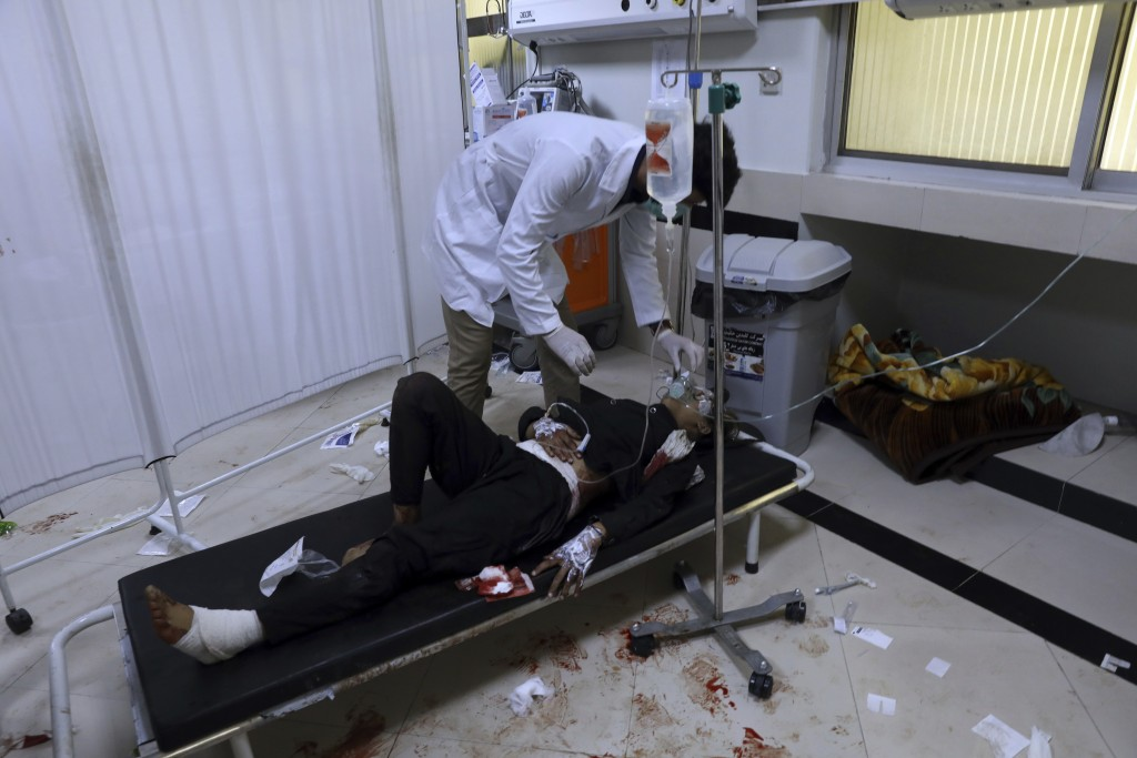 An Afghan school student is treated at a hospital after a bomb explosion near a school in west of Kabul, Afghanistan, Saturday, May 8, 2021. A bomb ex...