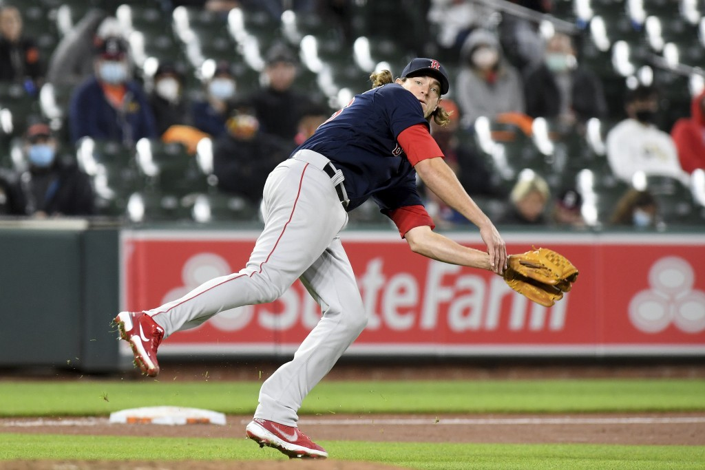 Boston Red Sox starting pitcher Garrett Richards throws to first base to get out Baltimore Orioles' Maikel Franco in the fourth inning of a baseball g...