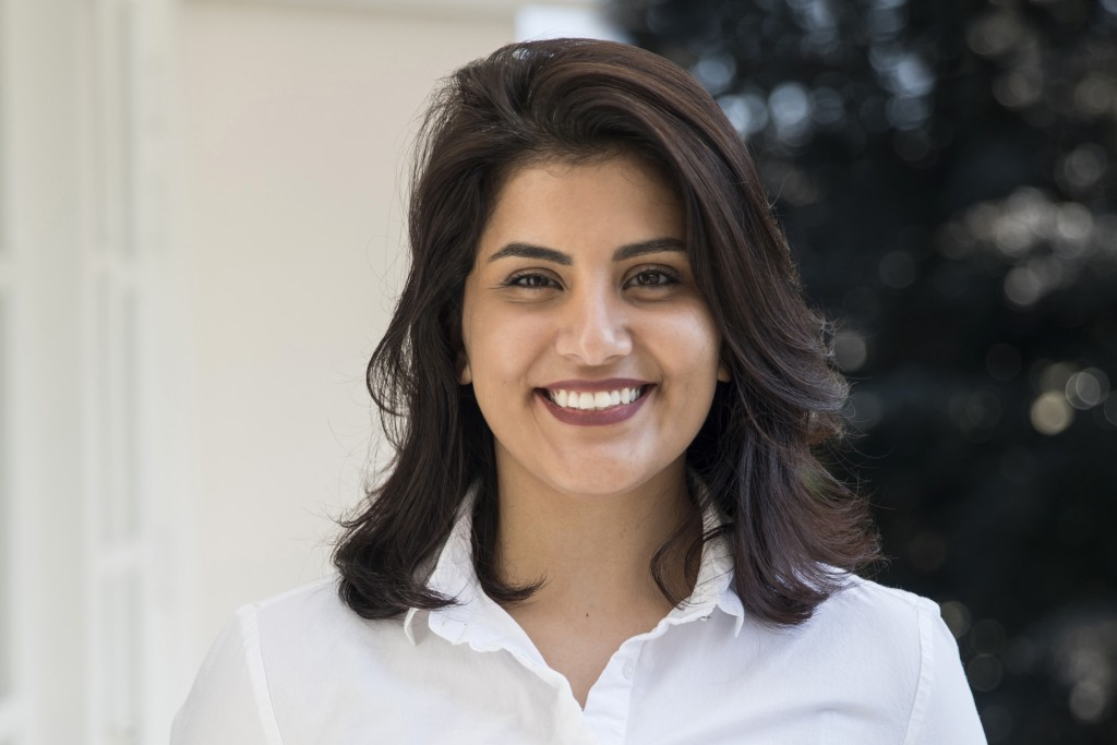 FILE - In this 2017 file photo, Loujain al-Hathloul poses for a photo in Amsterdam, the Netherlands. Al-Hathloul, a prominent Saudi women's rights act...
