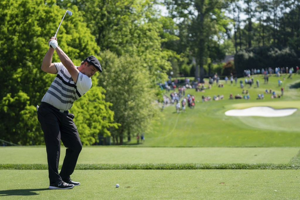 Bryson DeChambeau tees off on the 13th hole during the third round of the Wells Fargo Championship golf tournament at Quail Hollow, Saturday, May 8, 2...