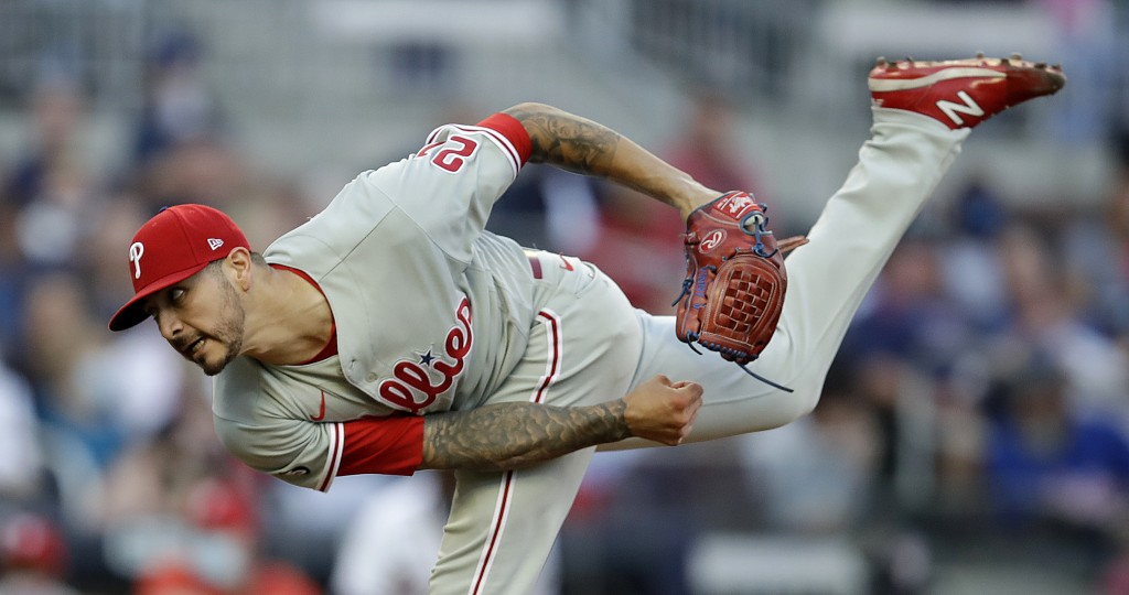 Philadelphia Phillies pitcher Vince Velasquez works against the Atlanta Braves in the first inning of a baseball game Saturday, May 8, 2021, in Atlant...