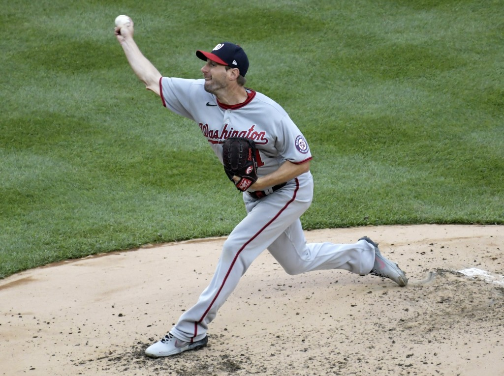 Washington Nationals starting pitcher Max Scherzer throws during the third inning of a baseball game against the New York Yankees, Saturday, May 8, 20...