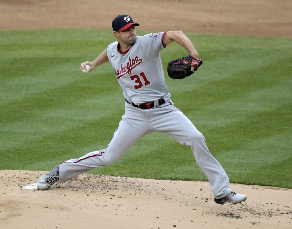 Washington Nationals starting pitcher Max Scherzer throws during the first inning of a baseball game against the New York Yankees, Saturday, May 8, 20...