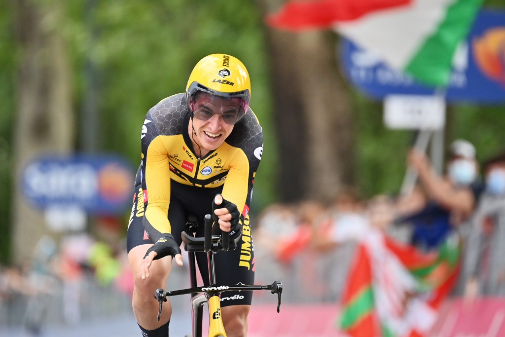 Italy's Edoardo Affini competes during the opening stage of the Giro d'Italia cycling race, an individual time trial in Turin, Italy, Saturday, May 8,...