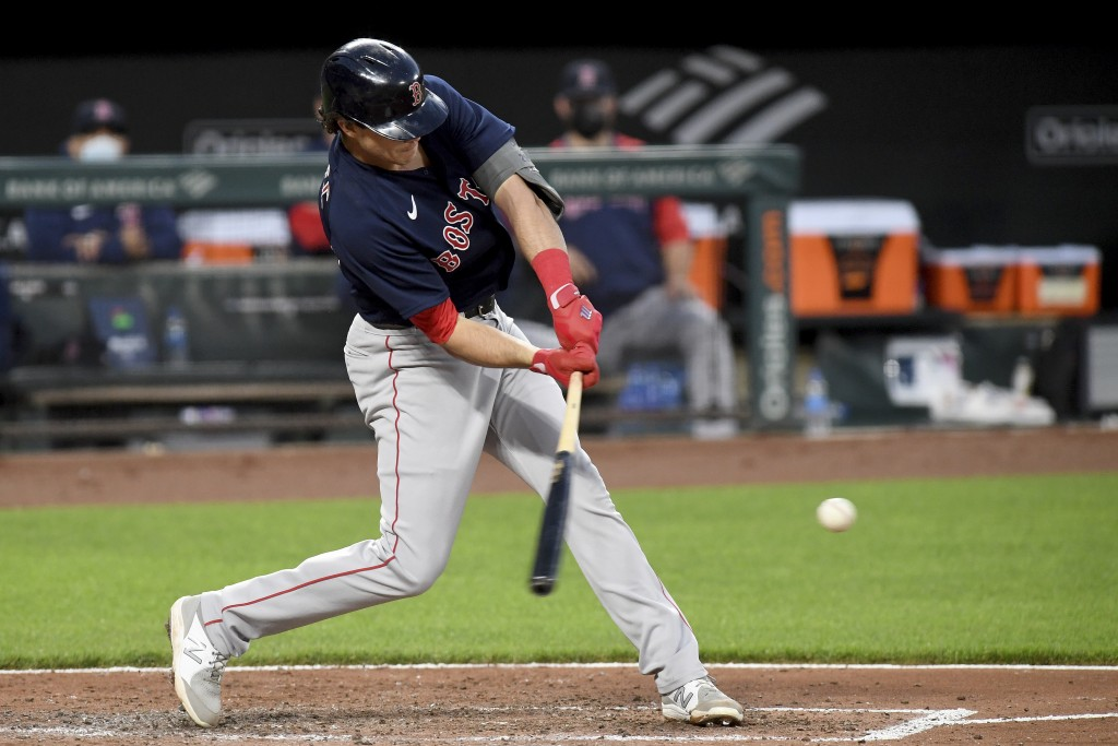 Boston Red Sox's Bobby Dalbec hits a two-run single against the Baltimore Orioles in the third inning of a baseball game, Saturday, May 8, 2021, in Ba...