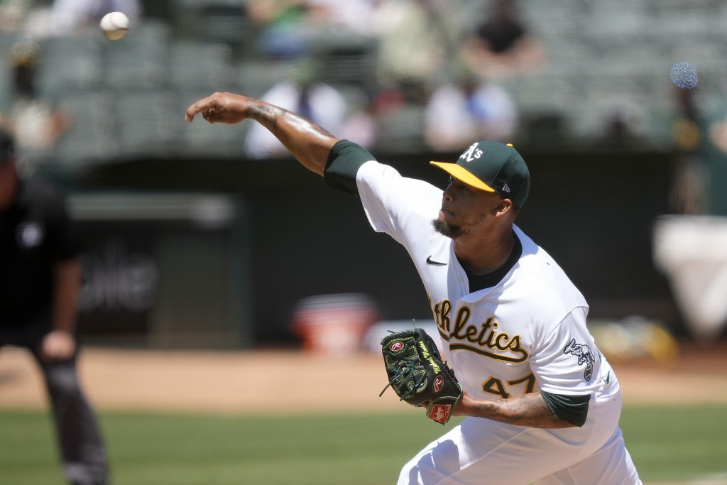 Oakland Athletics starting pitcher Frankie Montas throws against the Tampa Bay Rays during the first inning of a baseball game Saturday, May 8, 2021, ...