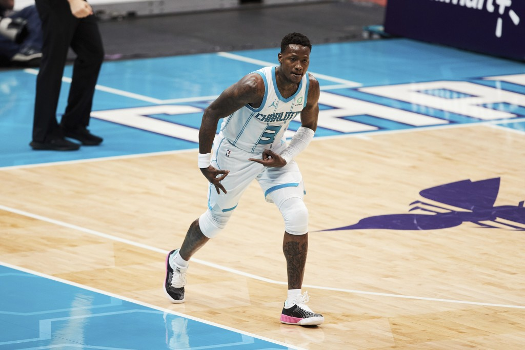 Charlotte Hornets guard Terry Rozier (3) reacts after making a three-point basket during the first half of an NBA basketball game against the New Orle...