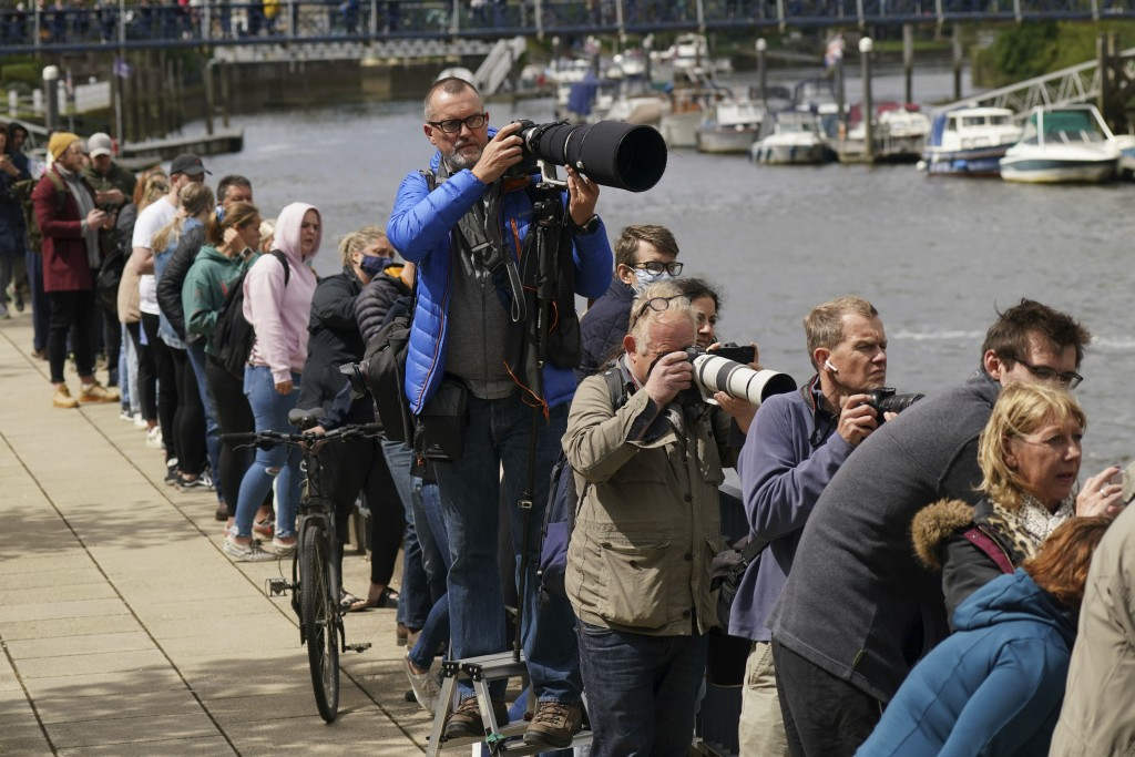 People gather on the footpath at Teddington Lock to try and spot a Minke whale, which was freed on Sunday after it became stuck on Richmond lock's boa...