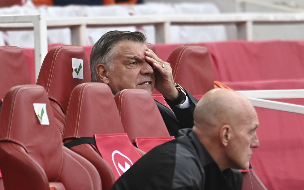 West Bromwich Albion's manager Sam Allardyce reacts during the English Premier League soccer match between Arsenal and West Bromwich Albion at the Emi...