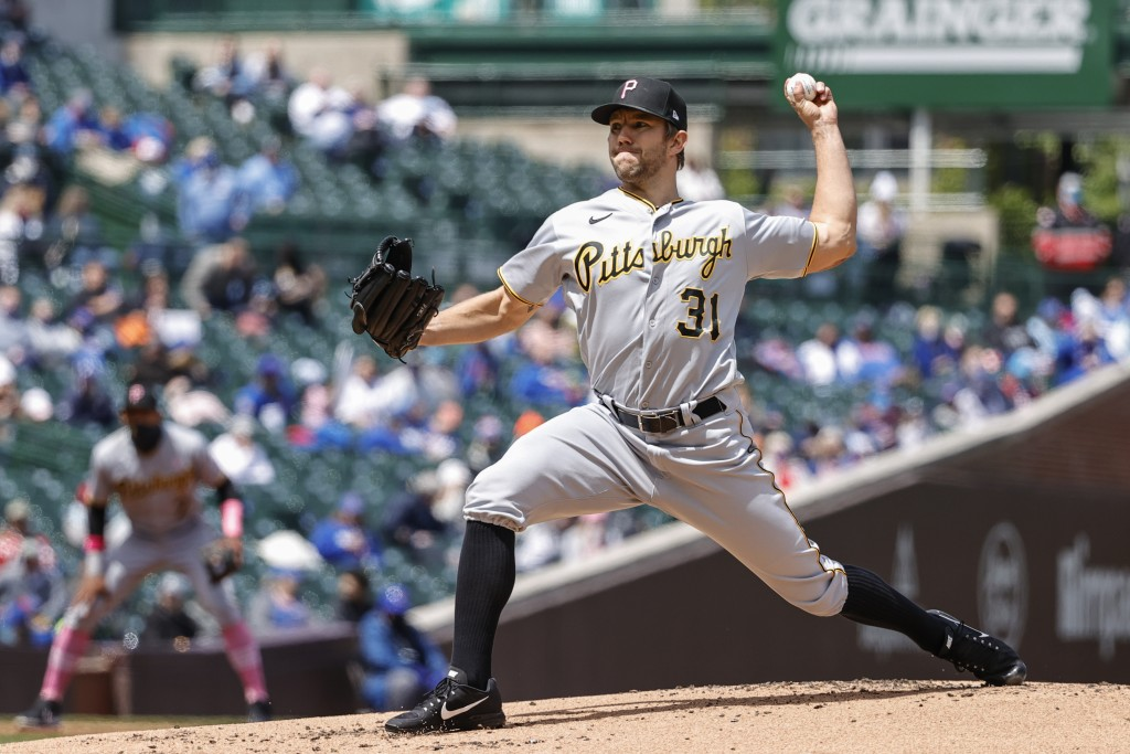 Pittsburgh Pirates starting pitcher Tyler Anderson (31) delivers against the Chicago Cubs during the first inning of a baseball game, Sunday, May 9, 2...