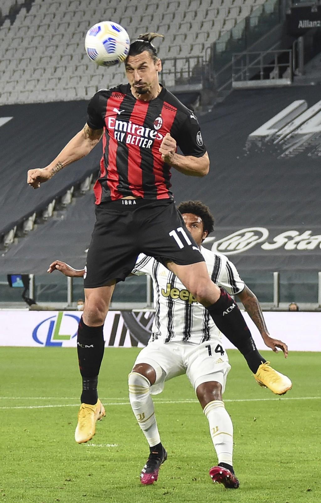 Milan's Zlatan Ibrahimovic in action during the Italian Serie A soccer match between Juventus and Milan, at the Juventus Stadium, in Turin, Italy, Sun...