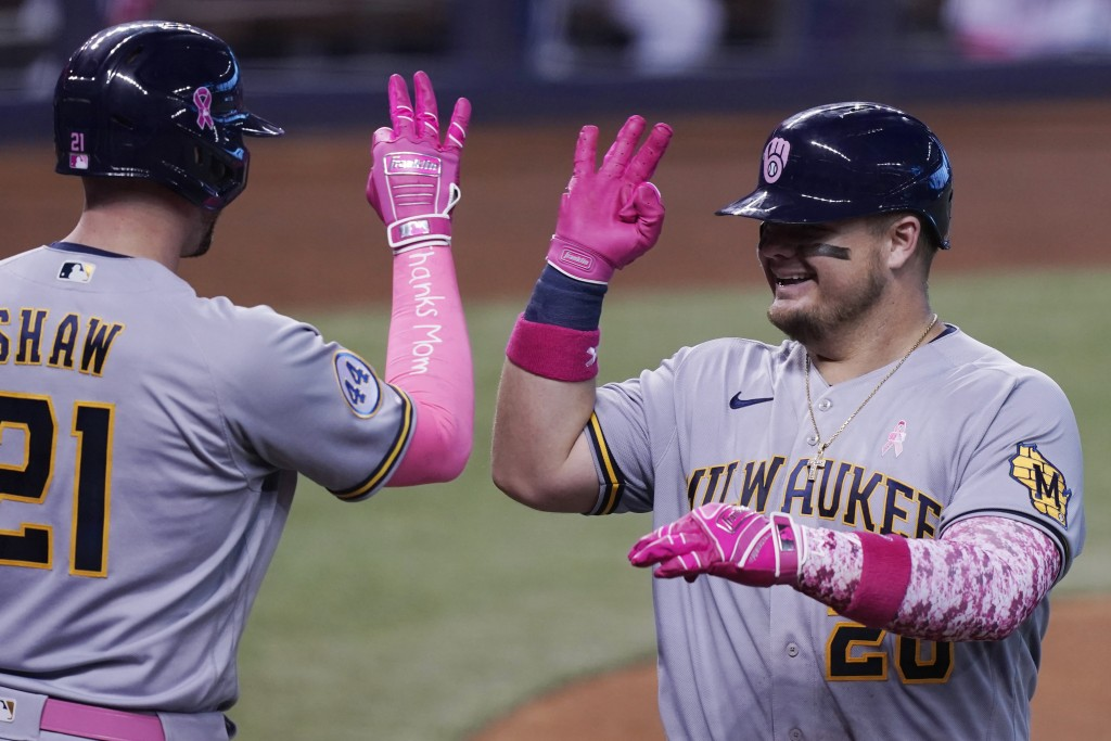 Milwaukee Brewers' Daniel Vogelbach (20) signals to Travis Shaw (21) after hitting a solo home run in the fourth inning of a baseball game against the...