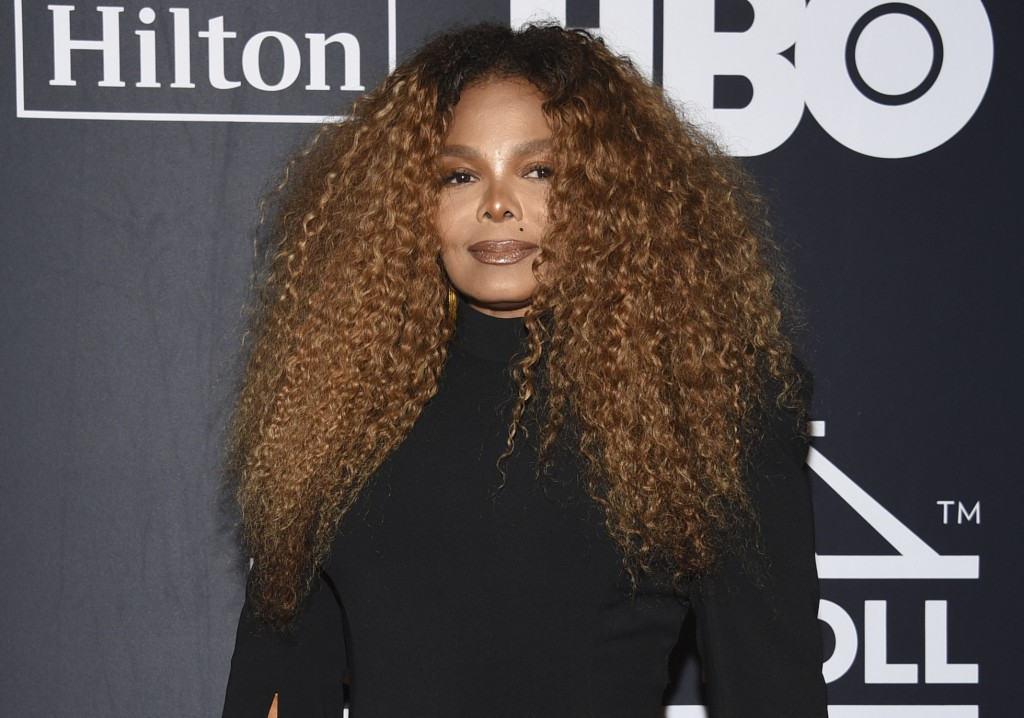 FILE - Janet Jackson arrives at the Rock & Roll Hall of Fame induction ceremony in New York on March 29, 2019. Jackson turns 55 on May 16. (Photo by E...
