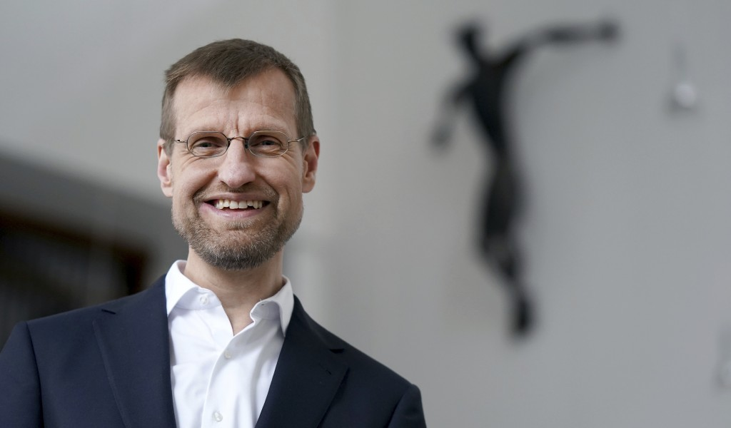 Jesuit Father Jan Korditschke, who will lead blessings for same-sex couples in Berlin in the upcoming week, poses for a photo at the Canisius Church i...