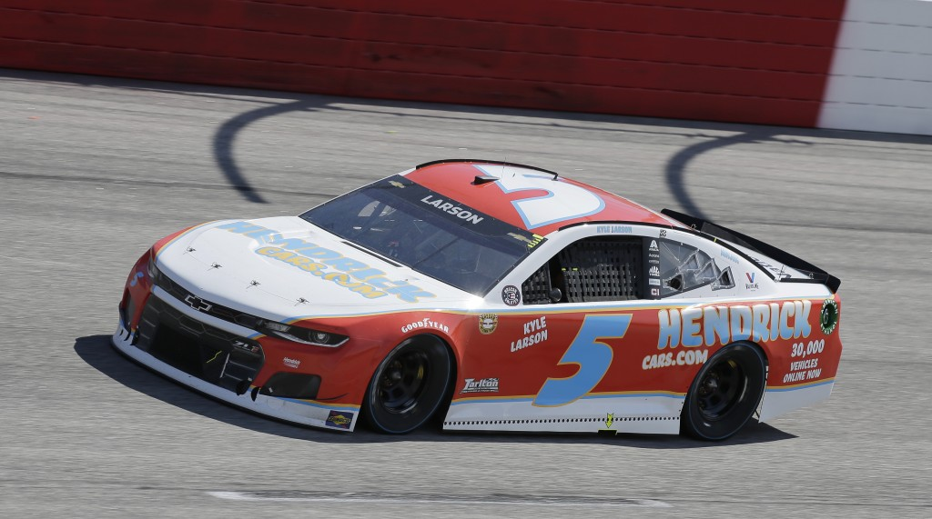 Kyle Larson drives into Turn 1 during the NASCAR Cup Series auto race at Darlington Raceway, Sunday, May 9, 2021, in Darlington, S.C. (AP Photo/Terry ...